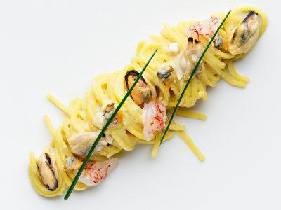 Spaghetti seafood carbonara.