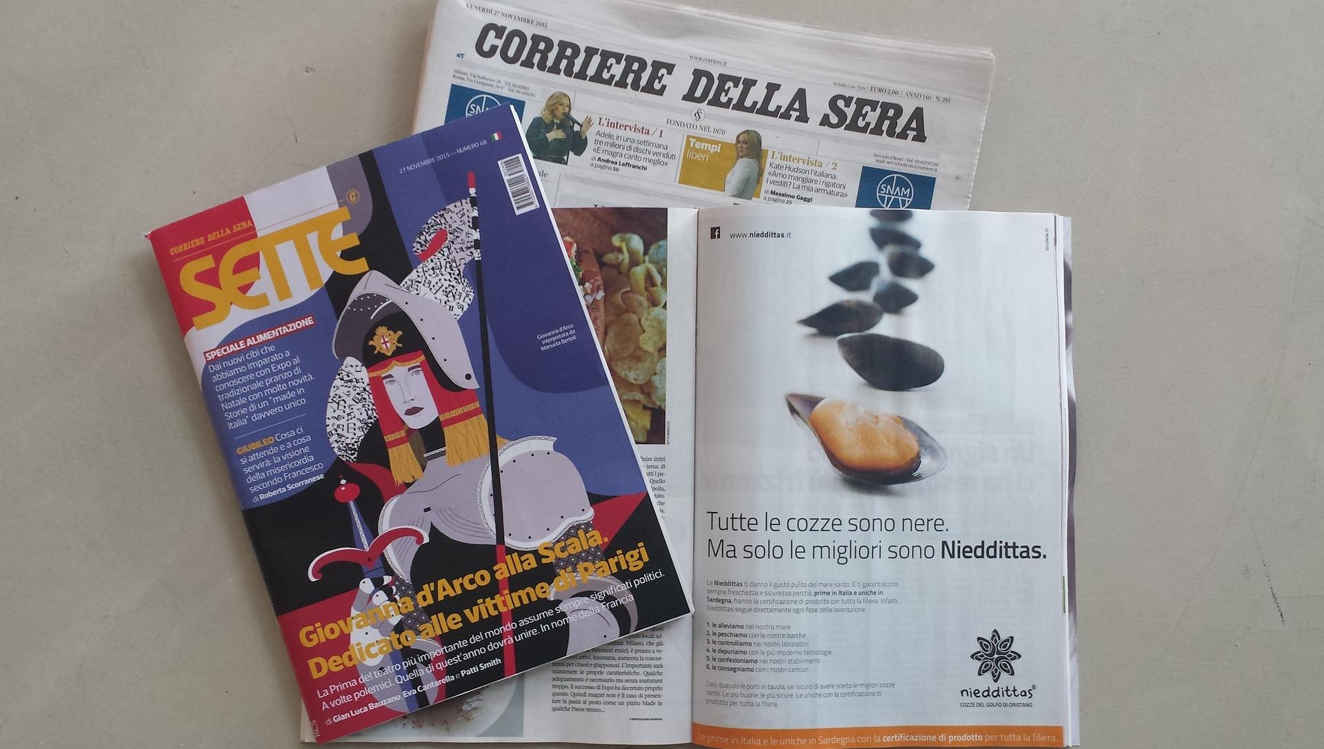 """Nieddittas su """"Sette-Corriere della Sera"""" in edicola oggi."""