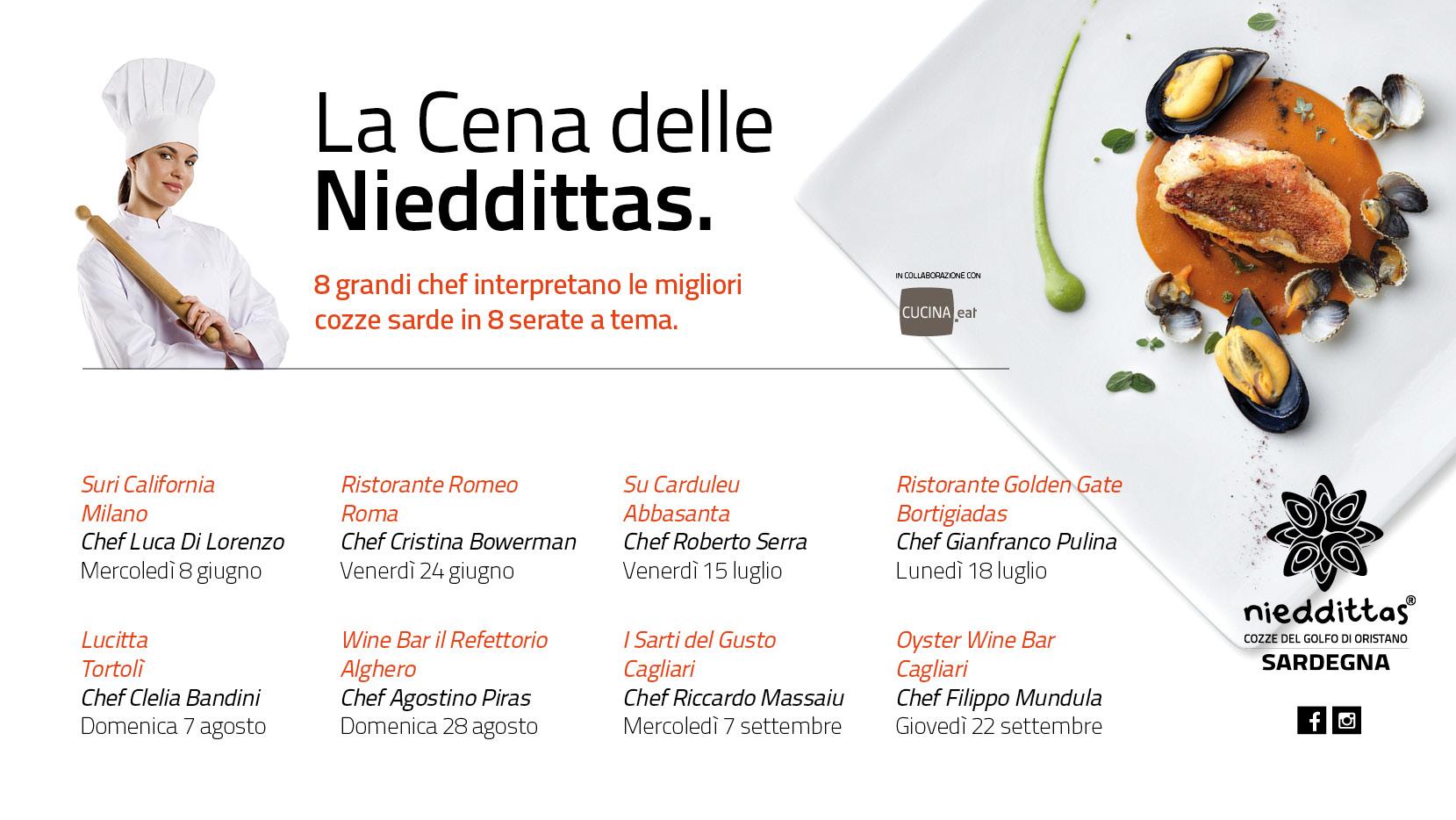 La Cena delle Nieddittas: 8 grandi chef interpretano i nostri prodotti.
