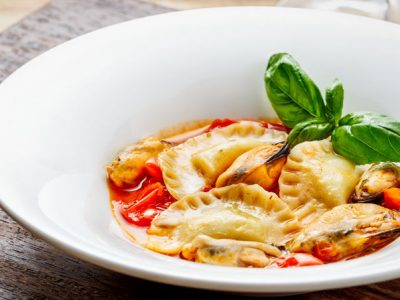Tortelli (stuffed pasta) in a spicy mussel broth.