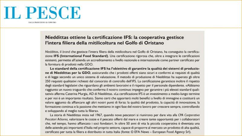 Nieddittas ottiene la certificazione IFS: la cooperativa gestisce l'intera filiera della mitilicoltura nel Golfo di Oristano