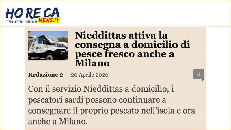 Nieddittas attiva la consegna a domicilio di pesce fresco anche a Milano